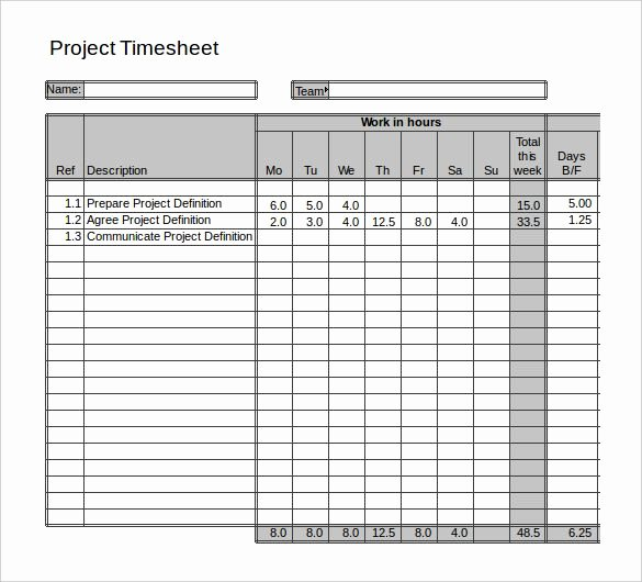 Project Timesheet Template Excel Luxury Project Daily Time Sheet format In Excel Documents