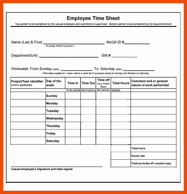 Project Timesheet Template Excel New 6 7 Sample Timesheet