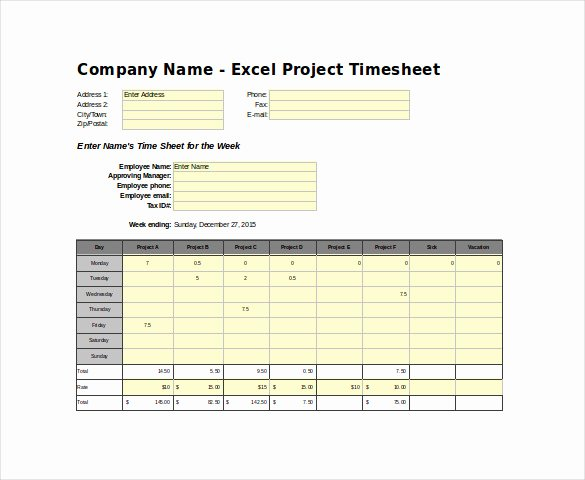 Project Timesheet Template Excel New Timesheet Templates – 35 Free Word Excel Pdf Documents