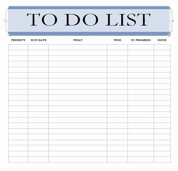 Project to Do List Template Lovely Editable to Do List Template