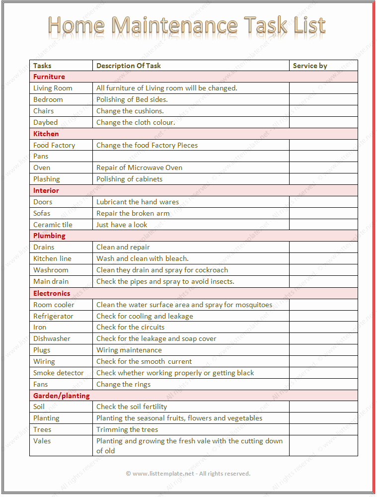 Project to Do List Template Lovely Home Maintenance Task List Template Word