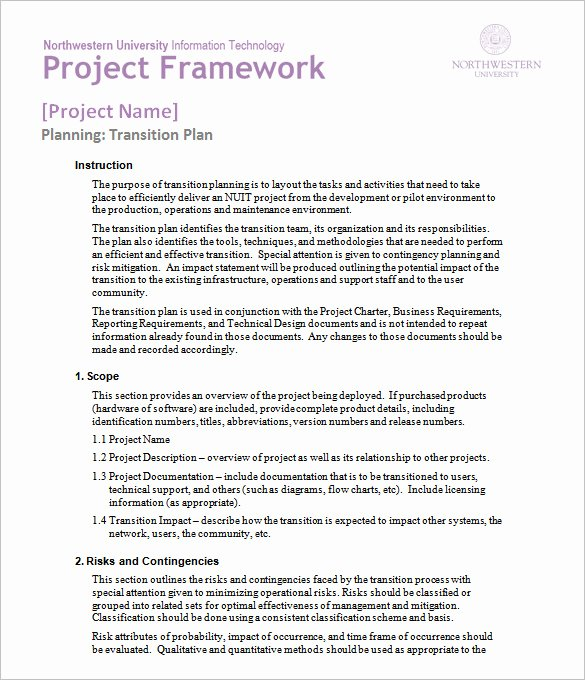 Project Transition Plan Template Best Of 25 Plan Template Word Excel Pdf