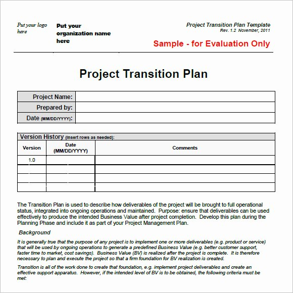 Project Transition Plan Template Fresh 9 Transition Plan Samples