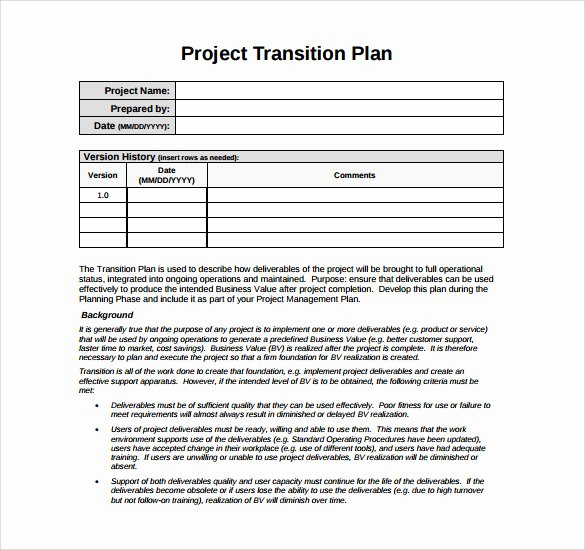 Project Transition Plan Template Inspirational Transition Plan Template 9 Download Documents In Pdf