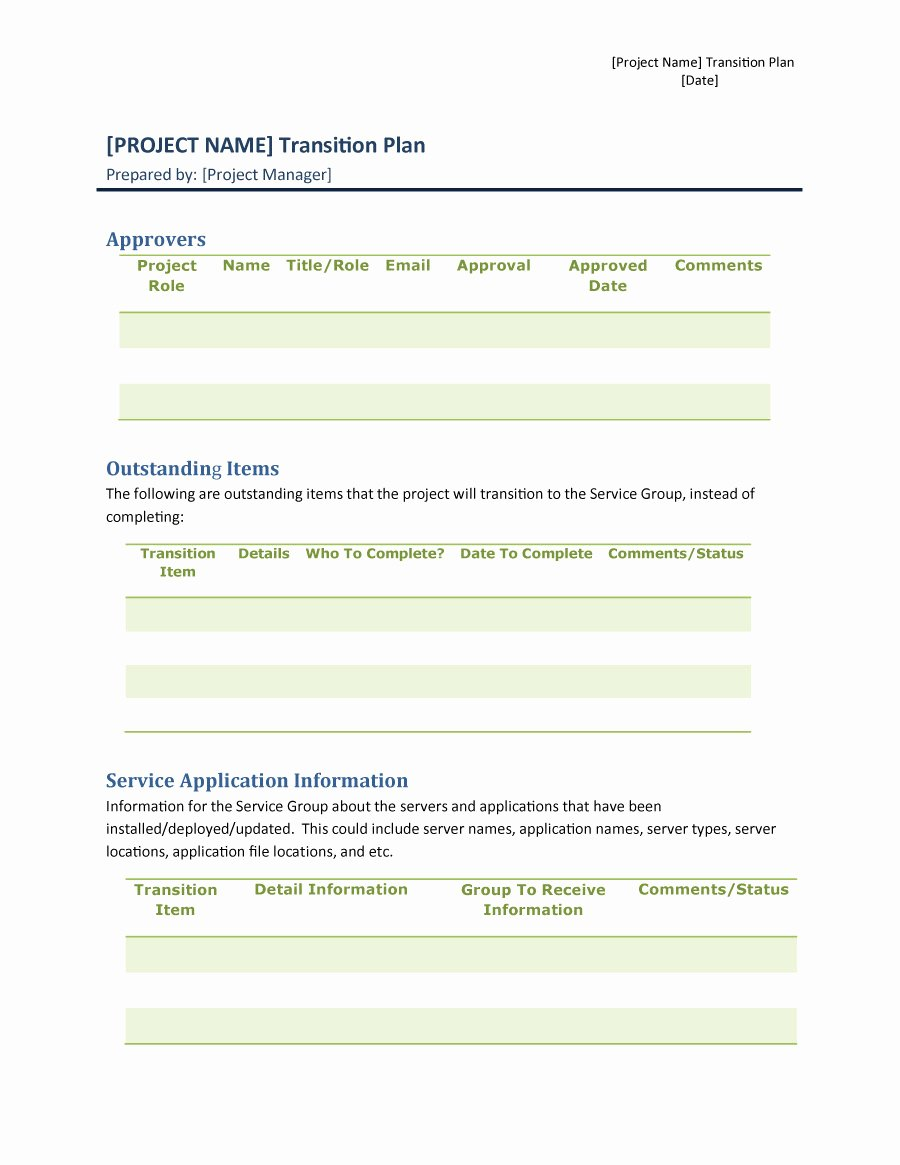 Project Transition Plan Template Luxury 40 Transition Plan Templates Career Individual