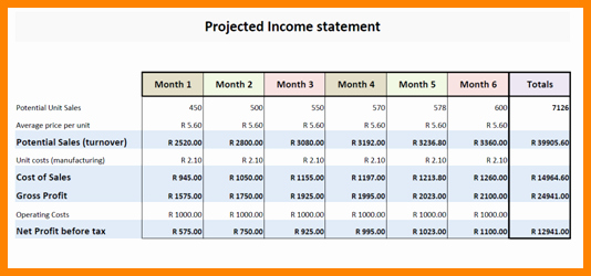 Projected Income Statement Template Awesome 7 Projected Financial Statement Sample