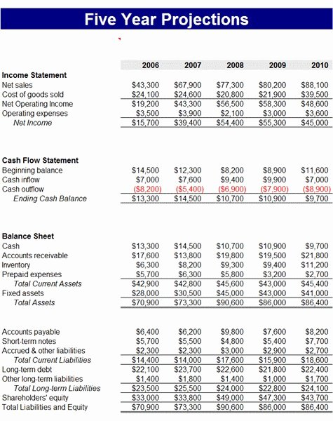 Projected Income Statement Template Beautiful 8 Projected Financial Statement Template Tripevent