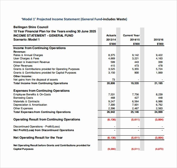 Projected Income Statement Template Inspirational 8 Projected Financial Statement Template Tripevent