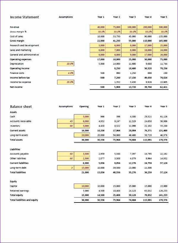 Projected Income Statement Template Lovely 10 Projected In E Statement Template Excel