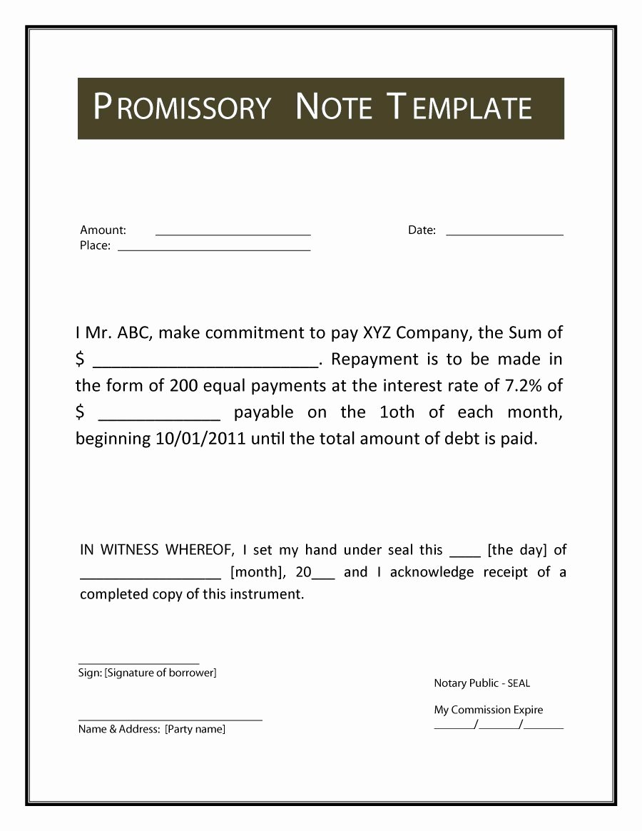 Promissory Note Template Free Beautiful Promissory Note Template