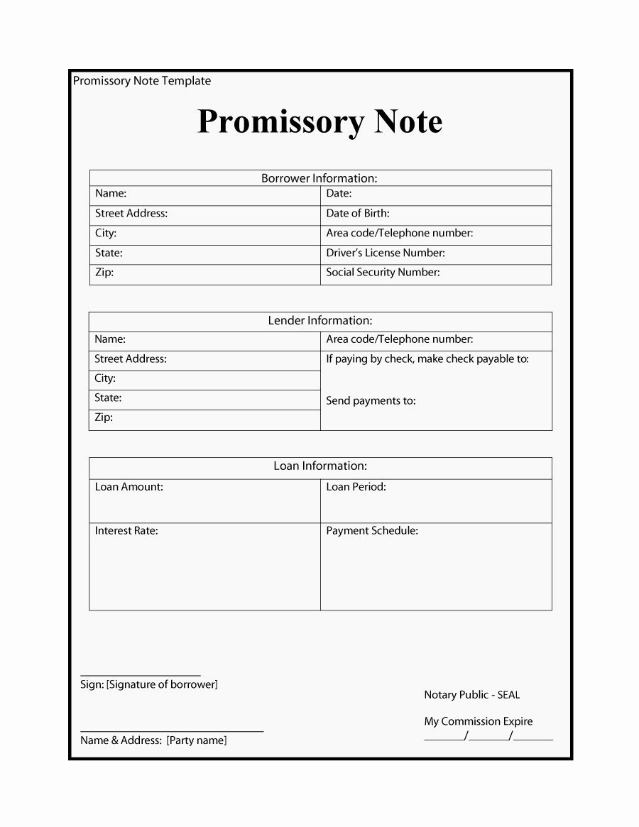 Promissory Note Template Free Best Of 45 Free Promissory Note Templates & forms [word & Pdf