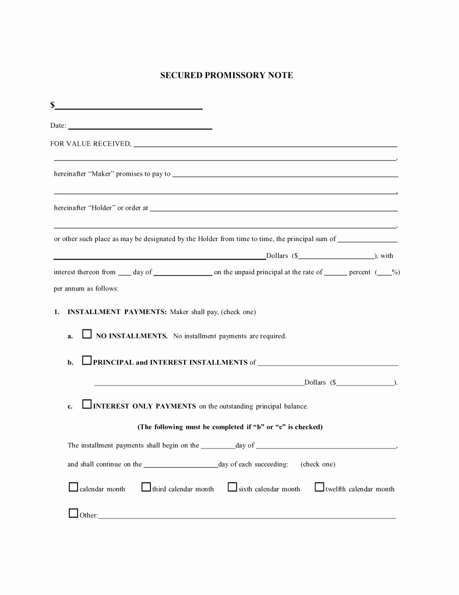 Promissory Note Template Free Fresh Free Promissory Note Template