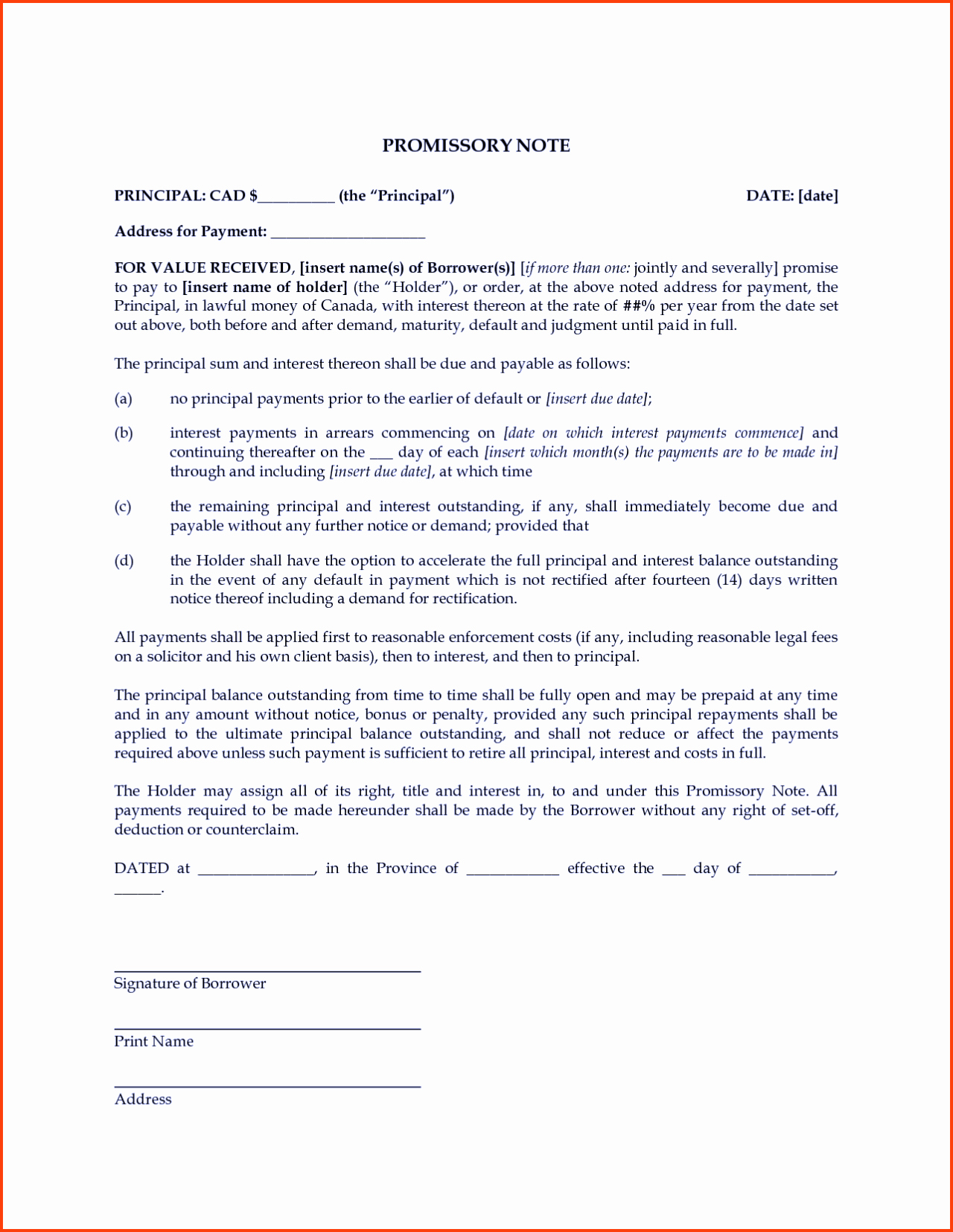 Promissory Note Template Free Inspirational Free Promissory Note Template Word Pdf