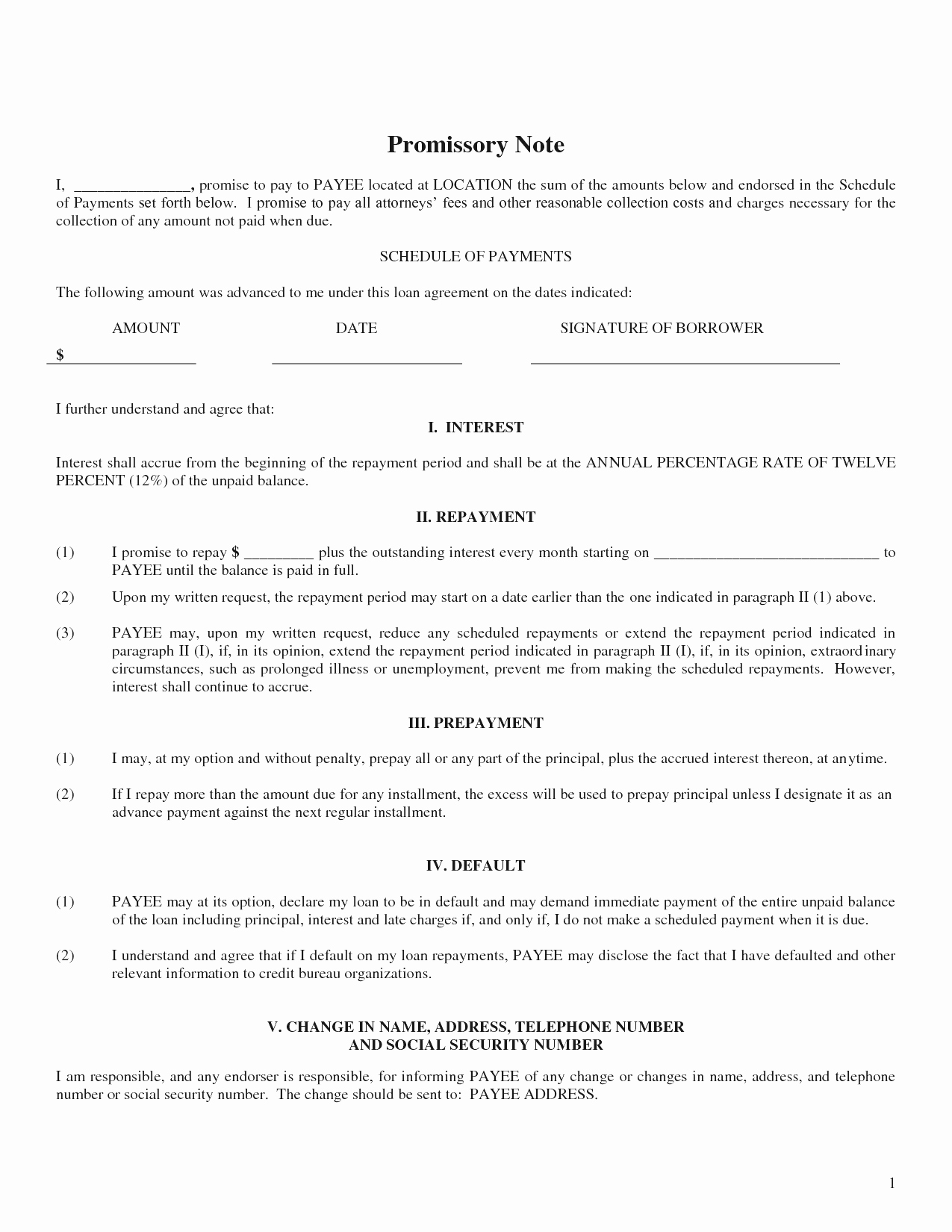 Promissory Note Template Free Unique Blank Promissory Note Example Mughals