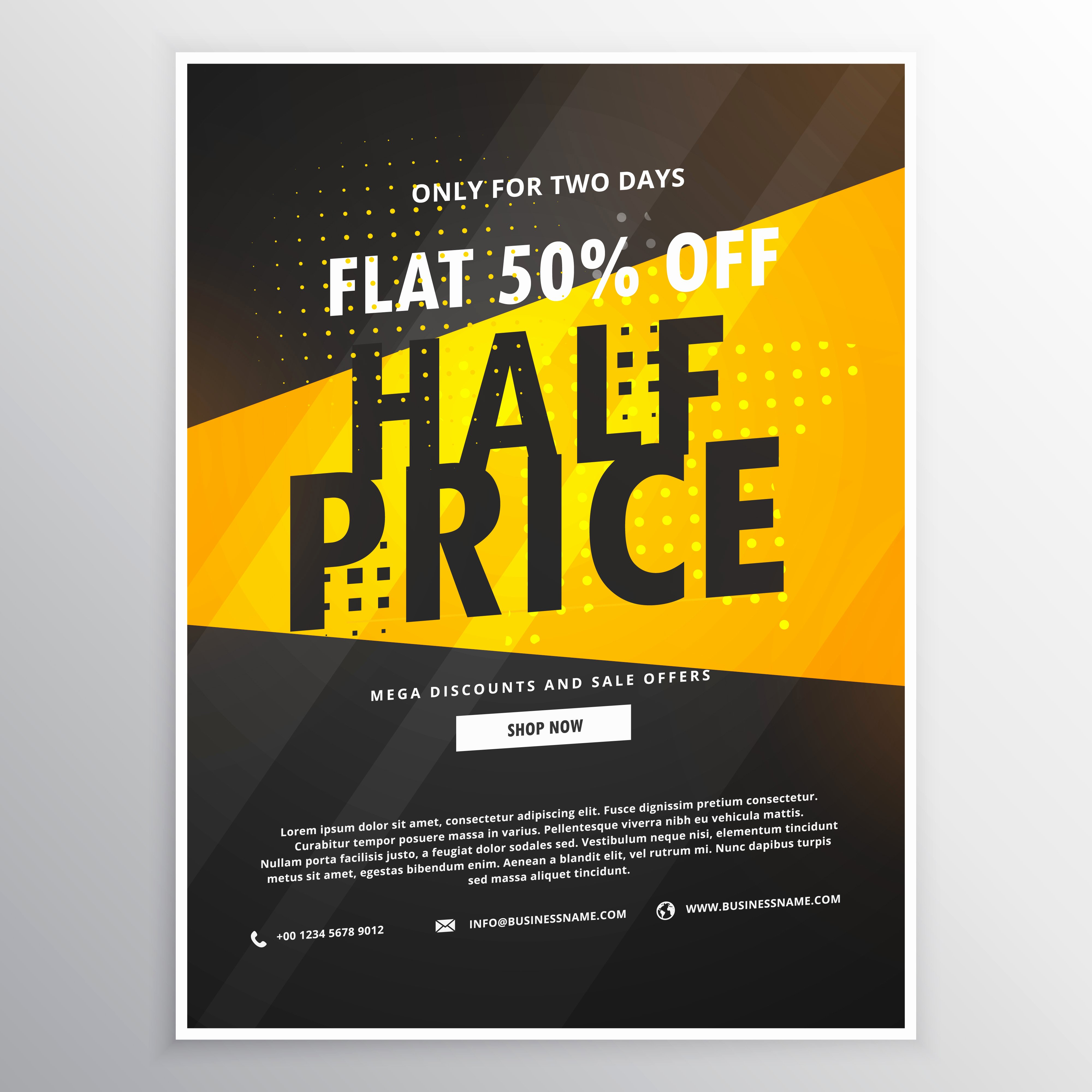 Promo Flyer Template Free Fresh Half Price Sale Brochure Flyer Promotional Template In