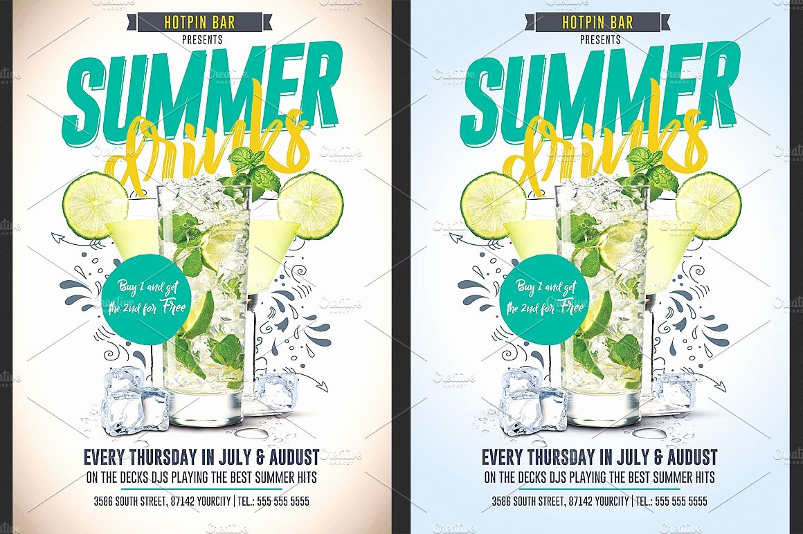 Promotion Flyer Template Free Best Of Summer Drinks Promotion Flyer Flyer Templates Creative