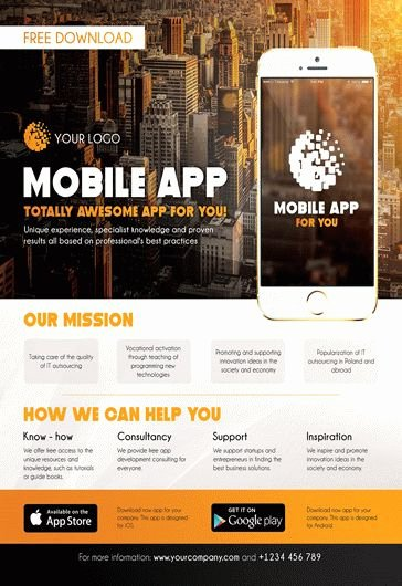 Promotional Flyers Template Free Beautiful Mobile App Promotion – Flyer Psd Template – by Elegantflyer