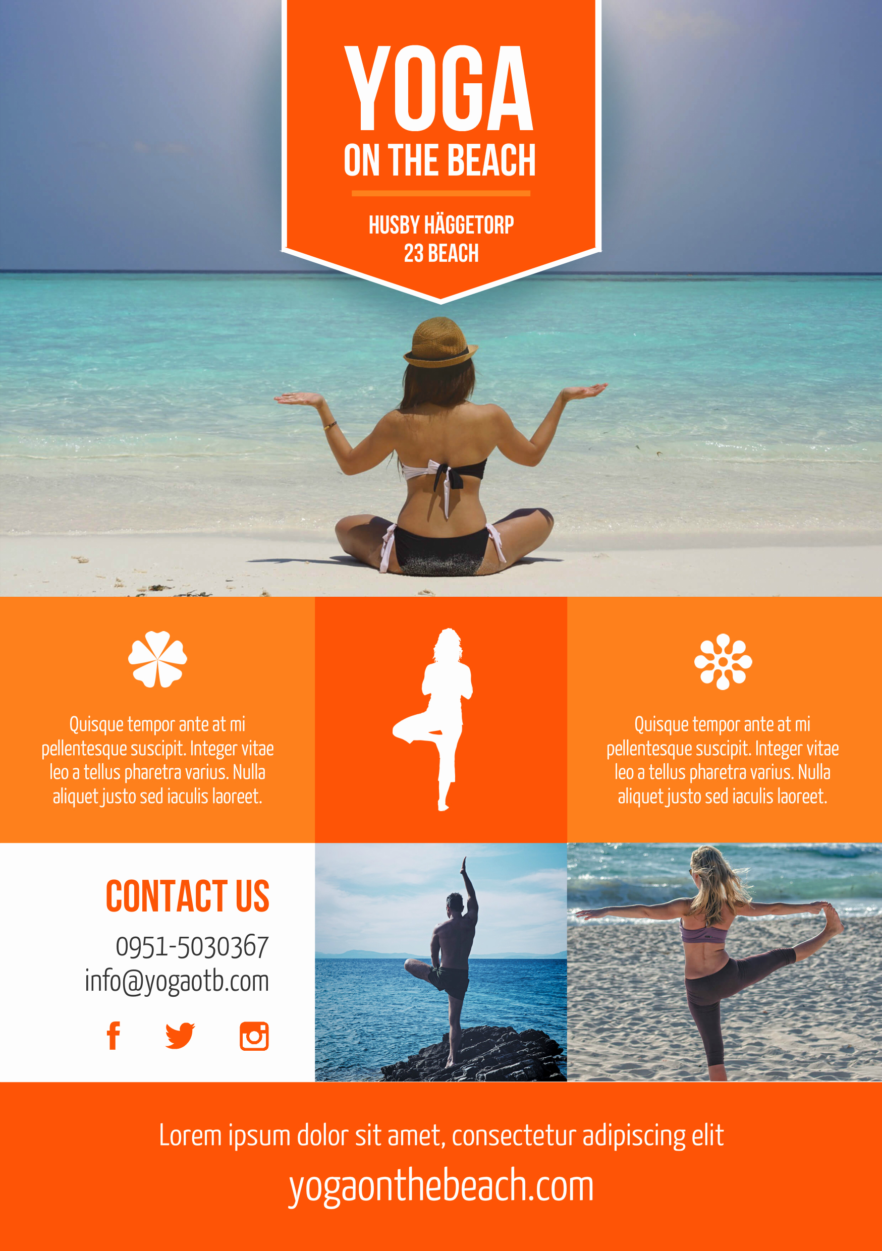 Promotional Flyers Template Free Elegant Beach Yoga A5 Promotional Flyer