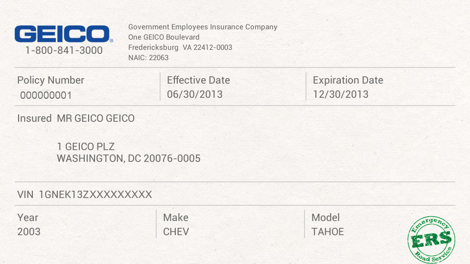 Proof Of Car Insurance Template Luxury Geico Insurance Card Template
