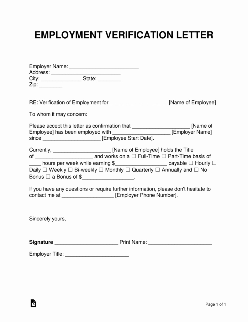 Proof Of Income Template Awesome Free Employment In E Verification Letter Pdf
