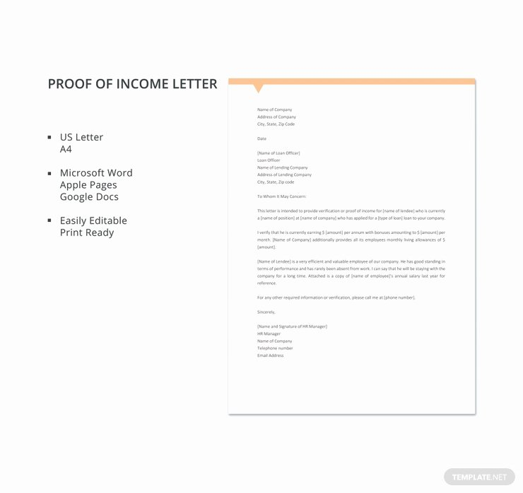 Proof Of Income Template Luxury 16 Proof Of In E Letters Pdf Doc
