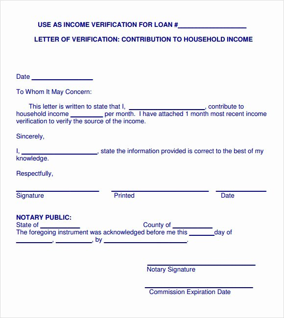 Proof Of Income Template New Sample In E Verification Letter 5 Free Documents