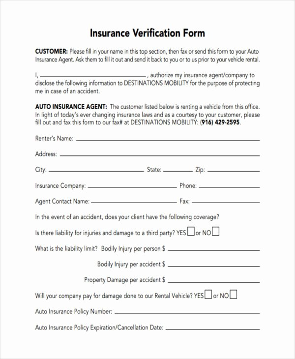 Proof Of Insurance Template Lovely 23 Insurance Verification form Templates
