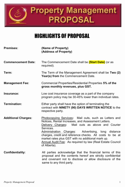 Property Management Proposal Template Beautiful Property Management Proposal Template Property Management