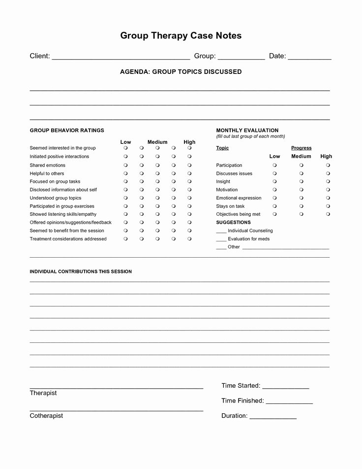 Psychotherapy Progress Note Template Inspirational Free Case Note Templates Group therapy Case Notes