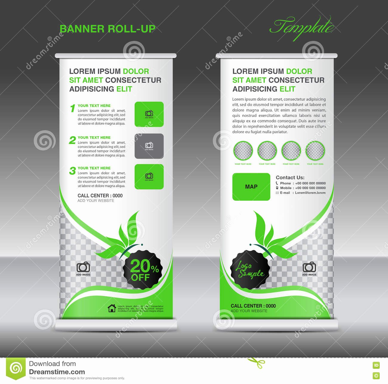Pull Up Banner Template Awesome Green Roll Up Banner Stand Template Banner Design Stock