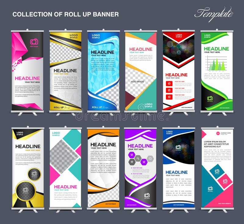 Pull Up Banner Template Awesome Roll Up Banner Template Collection Stand Template Vector