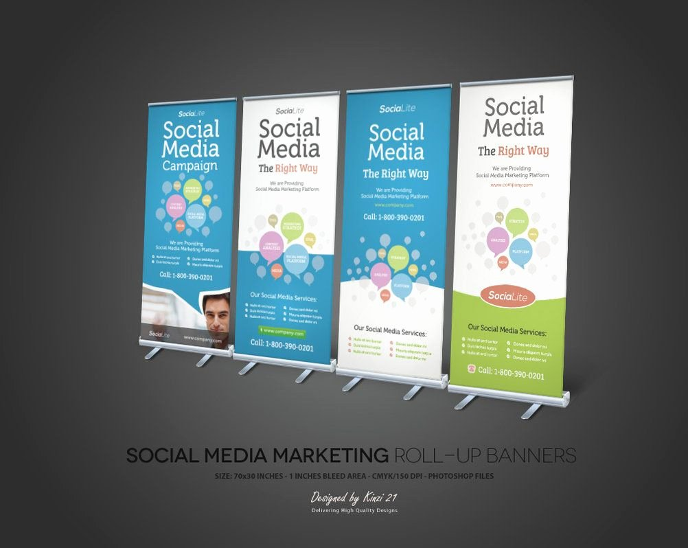 Pull Up Banner Template Beautiful social Media Marketing Roll Up Banners by Kinzi