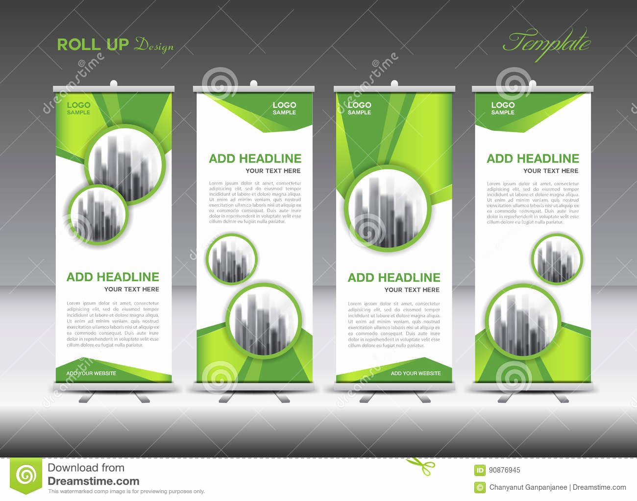Pull Up Banner Template Elegant Green and White Roll Up Banner Template Design Stock