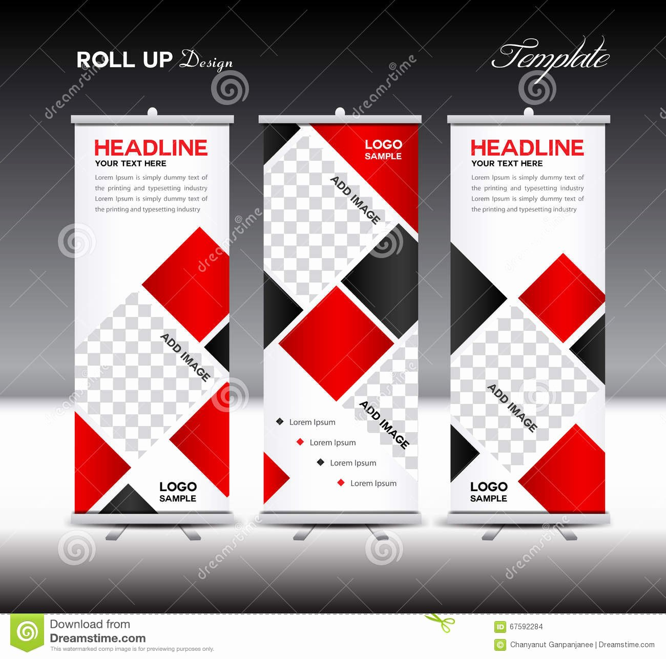 Pull Up Banner Template Luxury Red Roll Up Banner Template Vector Illustration Polygon