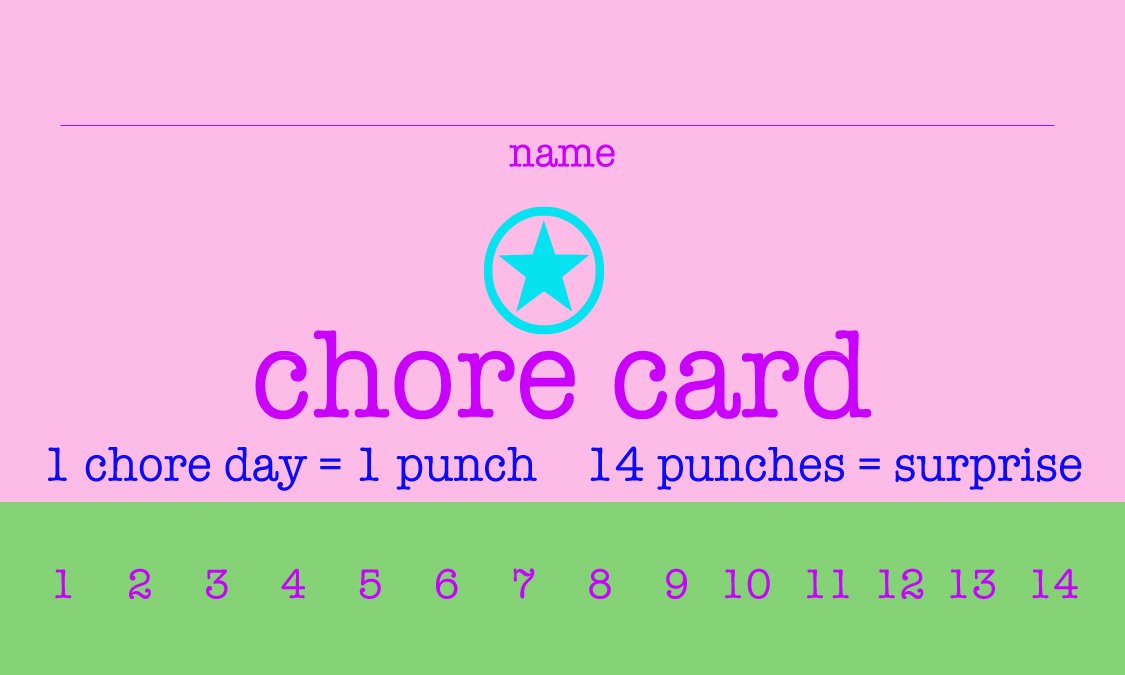 free printable chore punch cards