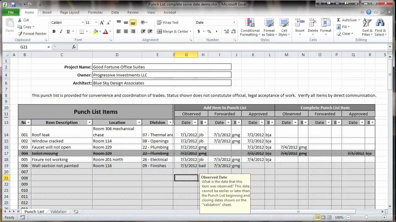 Punch List Template Excel Awesome Excel 2010 Construction Punch List Overview