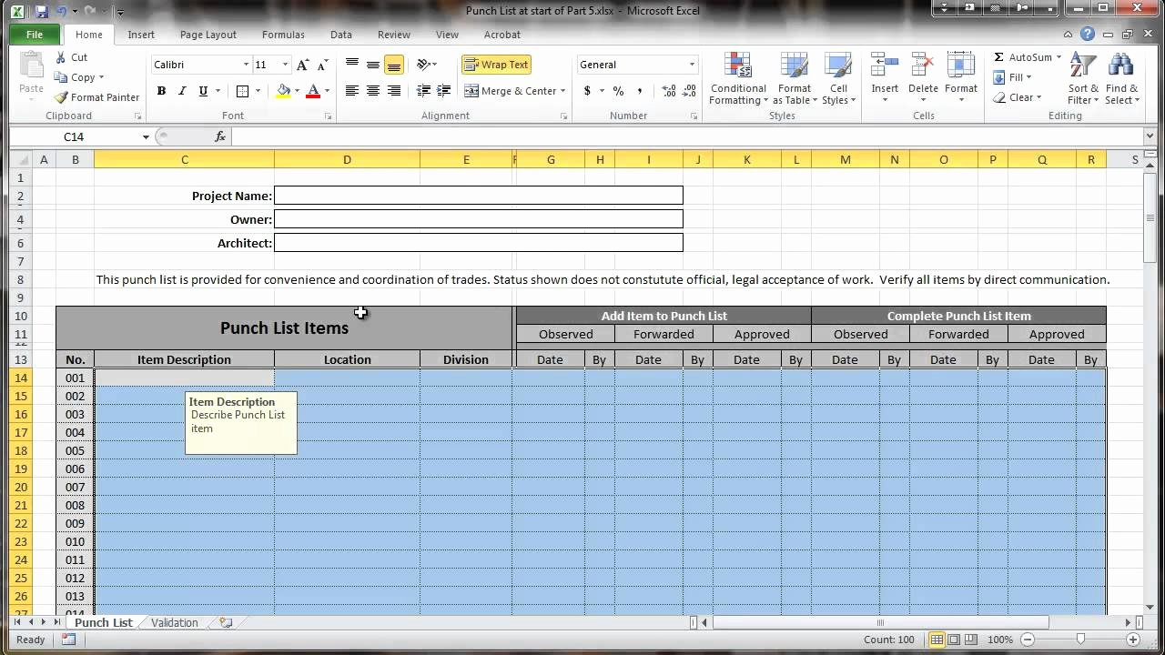 Punch List Template Excel Best Of Excel 2010 Construction Punch List Part V Data