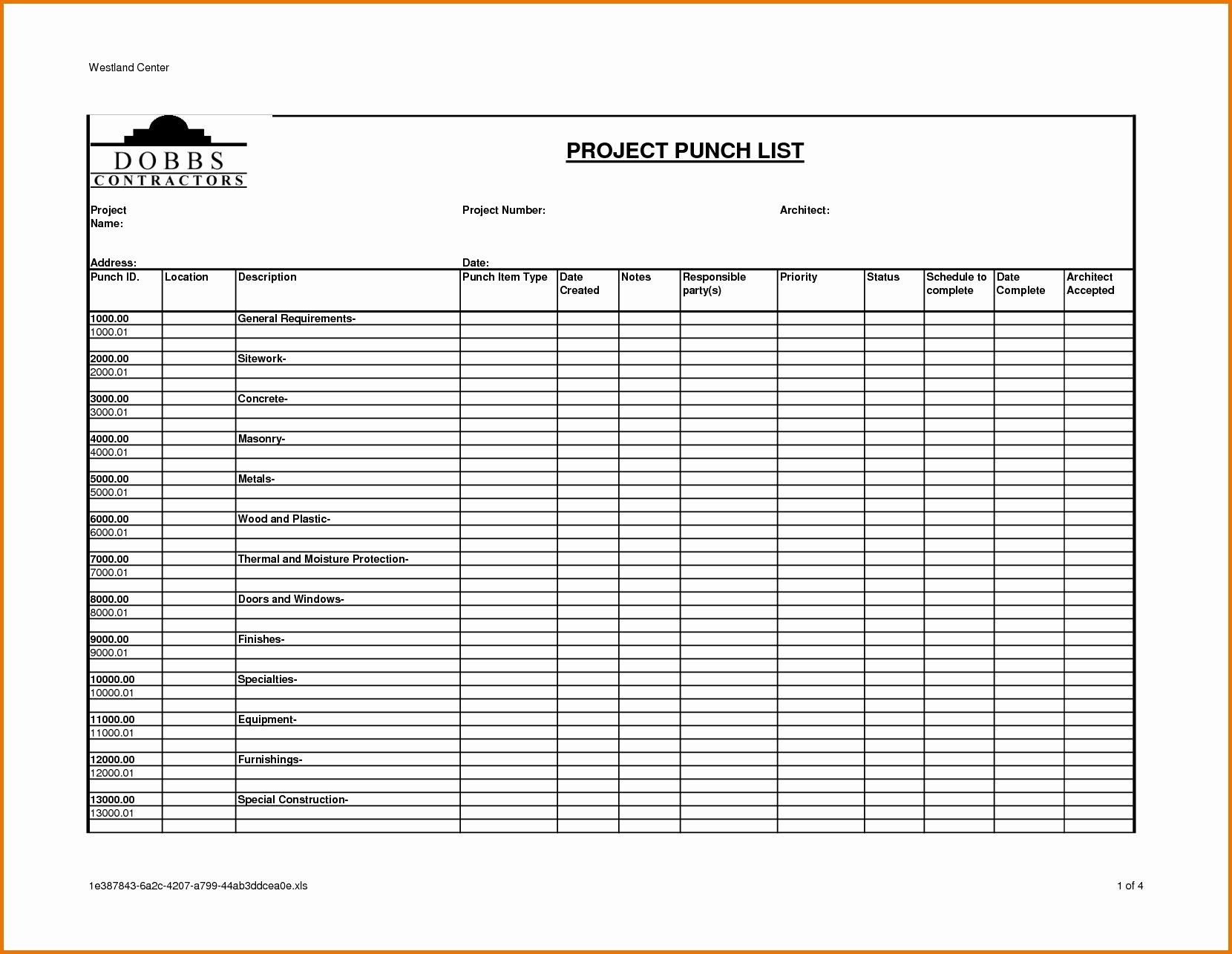 Punch List Template Excel Fresh Punch List Template