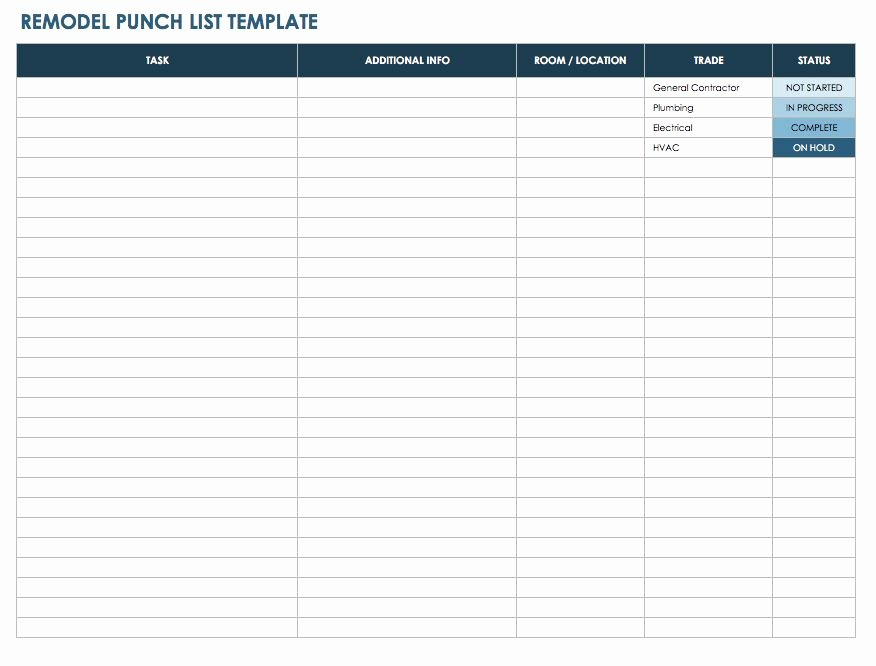 Punch List Template Excel Inspirational Free Punch List Templates