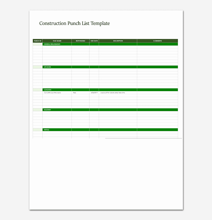 Punch List Template Excel Lovely Punch List Template 14 Word Excel Pdf format