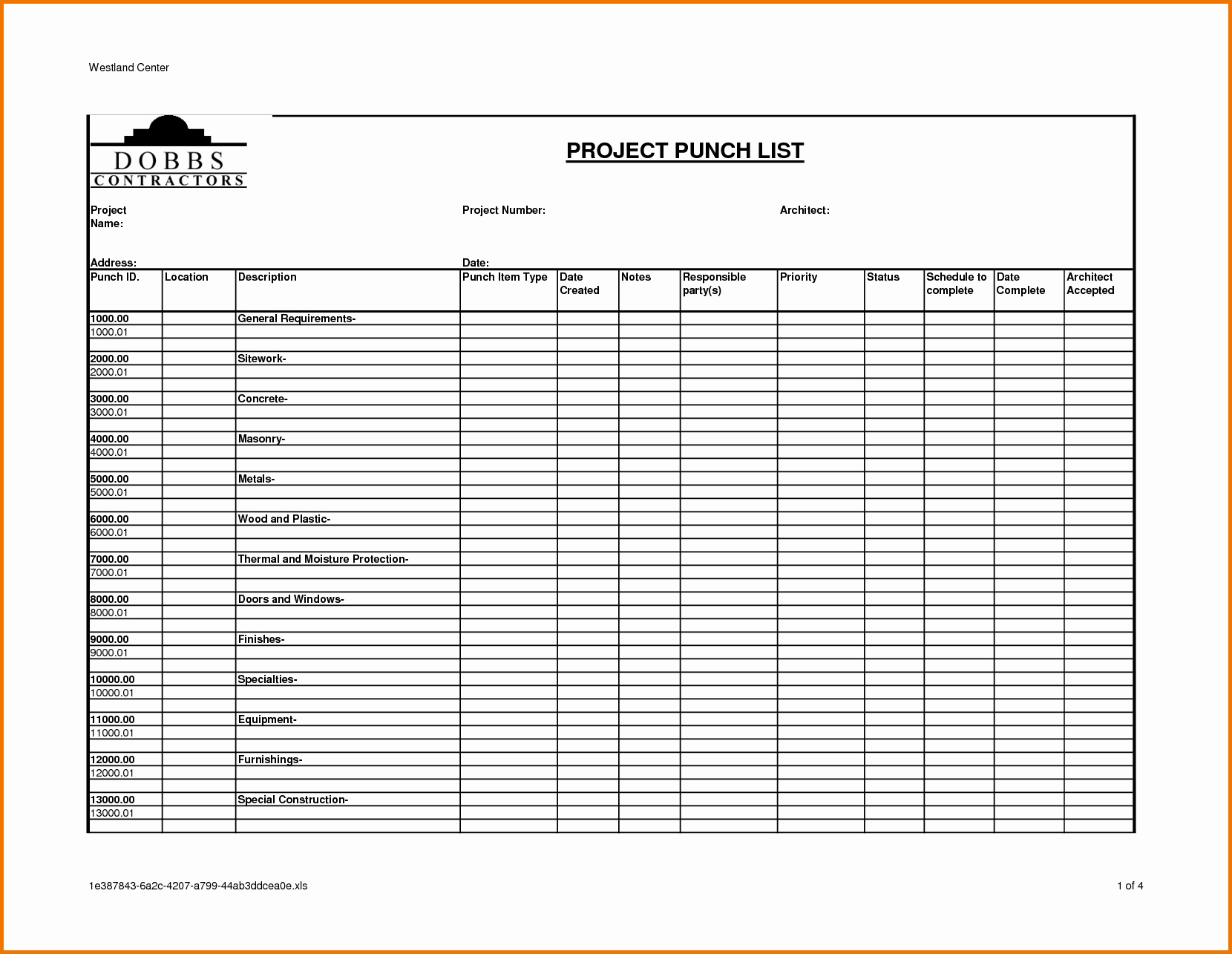 Punch List Template Excel Luxury Construction Project Punch List Template