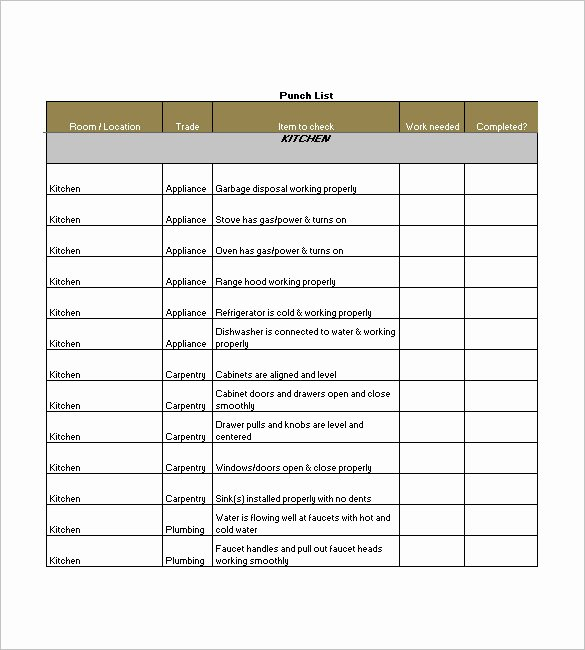 Punch List Template Excel New Punch List Template 8 Free Word Excel Pdf format