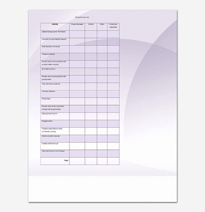 Punch List Template Pdf Inspirational Punch List Template 14 Word Excel Pdf format