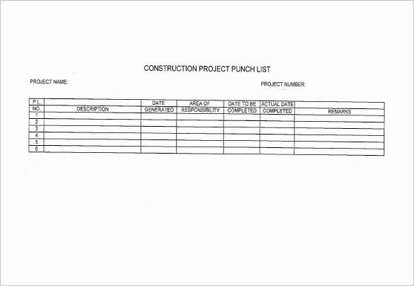 Punch List Template Pdf Unique Construction Punch List Template