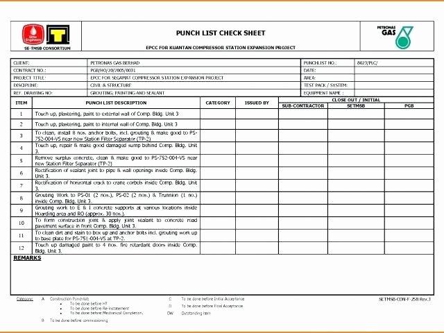 Punch List Template Pdf Unique New Construction Punch List Punch List Template Excel Free