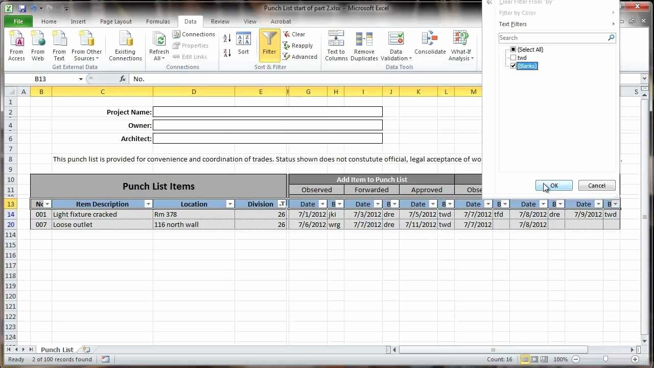 Punch Out List Template Awesome Excel 2010 Construction Punch List Part Ii Data