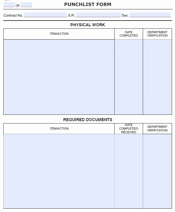 Punch Out List Template Elegant 15 Free Construction Punch List Templates Ms Fice