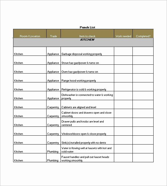 Punch Out List Template Fresh 15 Free Construction Punch List Templates Ms Fice