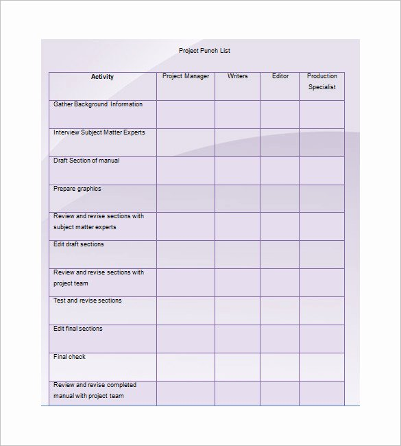 Punch Out List Template Inspirational Punch List Template 8 Free Word Excel Pdf format