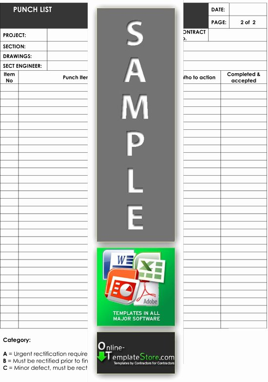 Punch Out List Template Luxury Quality Control forms